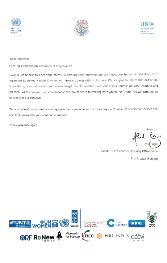 Commendation Letter by UNEP